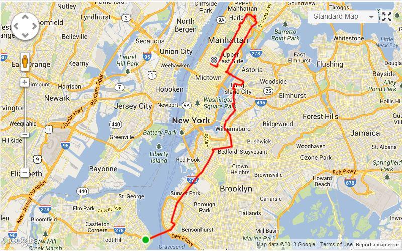 new york maraton útvonal