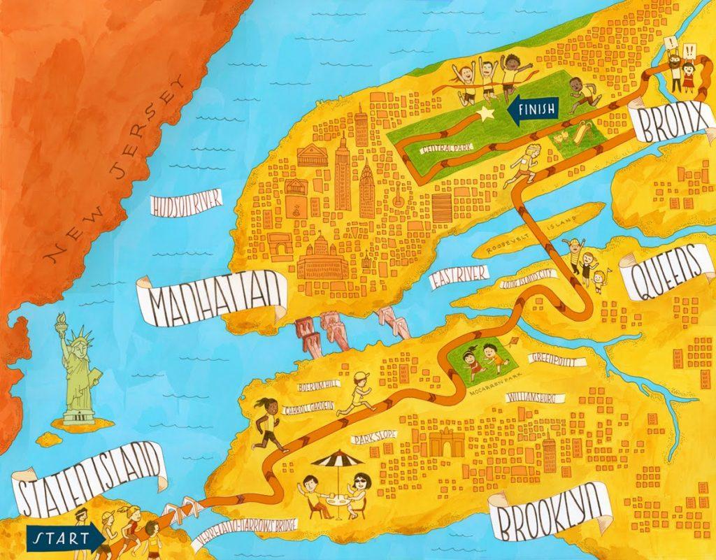 new york maraton rajzos térkép