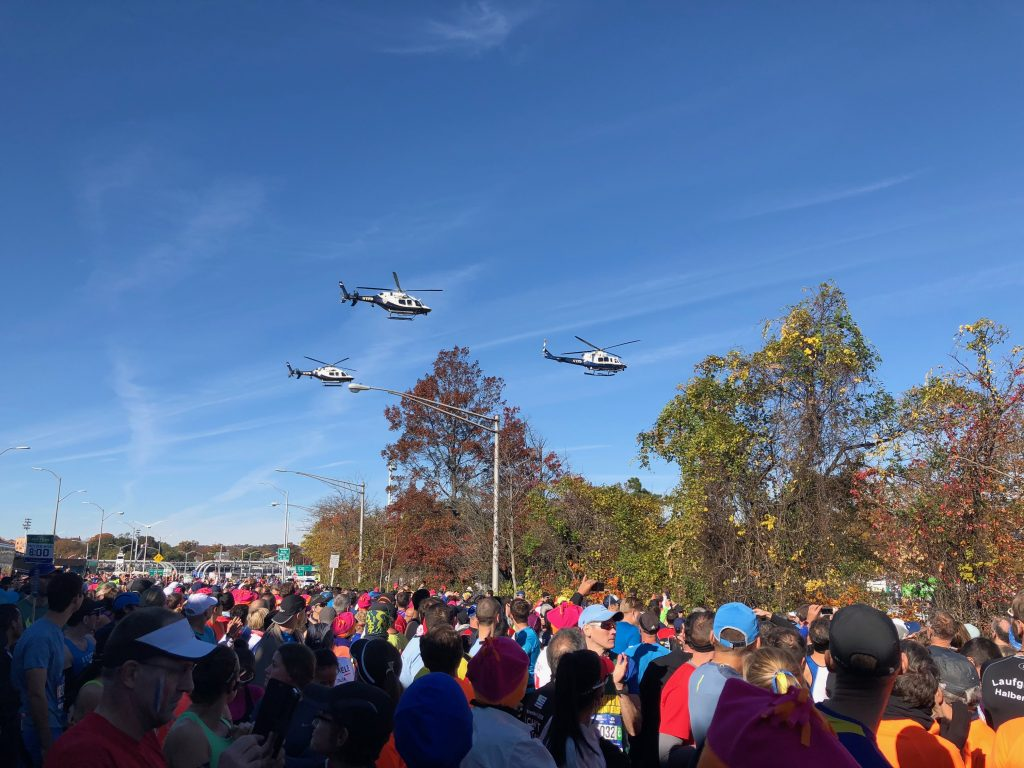 Helicopters on New York marathon