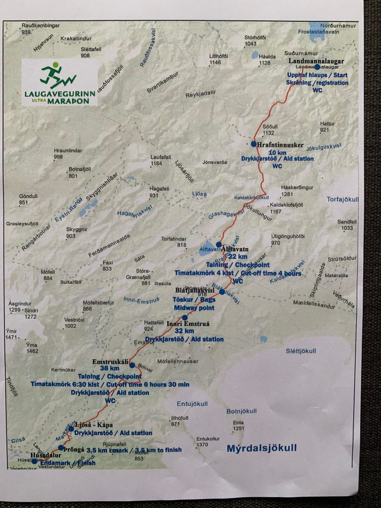 Laugavegur Ultra Marathon útvonala
